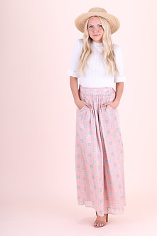 Mikarose Maxi Skirt-Soft Pink Medallion