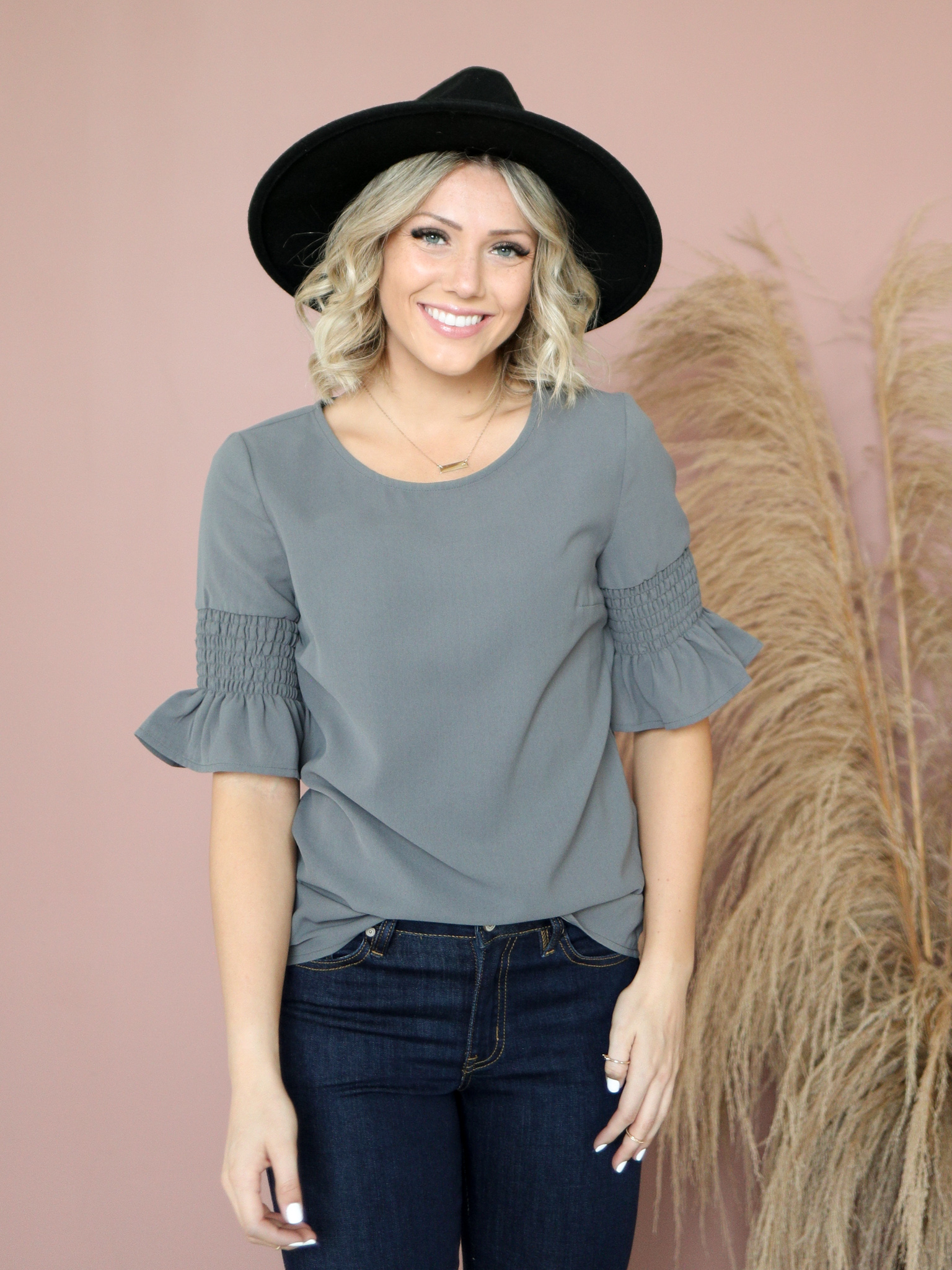 Gathered Sleeve Top-Pewter