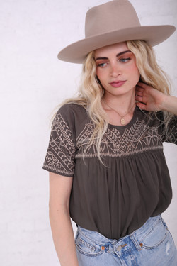 Olive Embrodiered Top