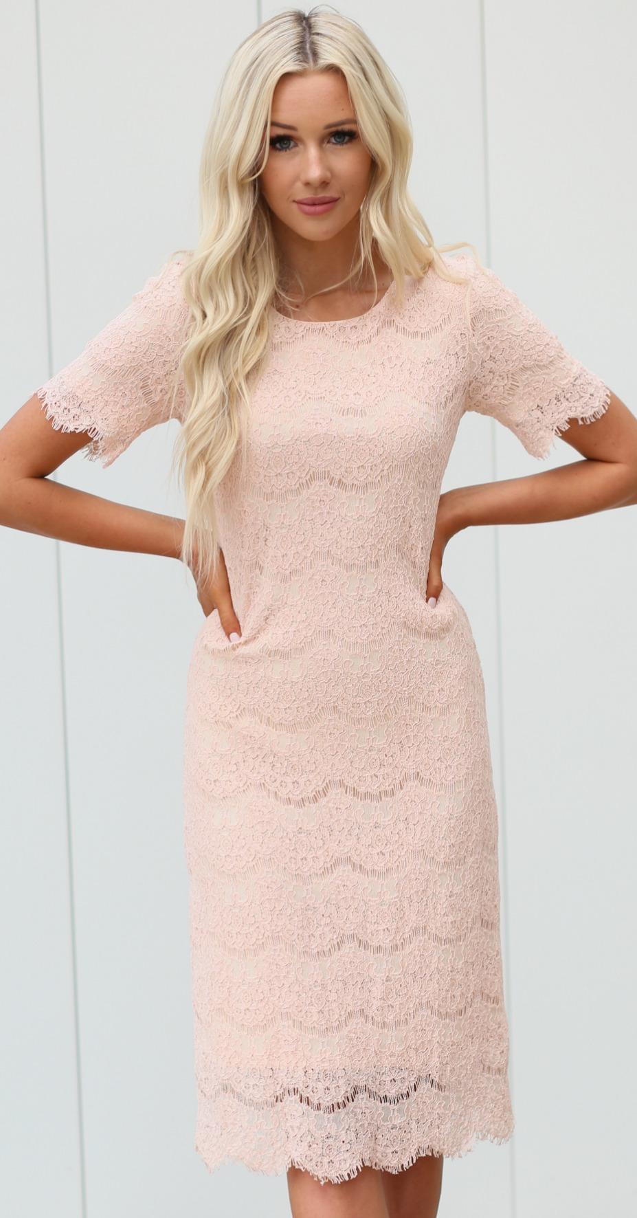 Jill Lace Pencil Dress-Pink