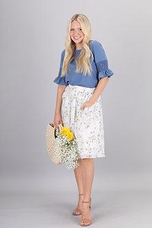 Mikarose White Poppy Skirt