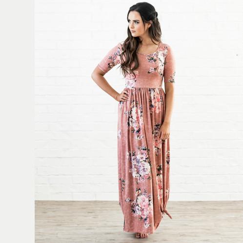 Pink Floral Maxi Dresses