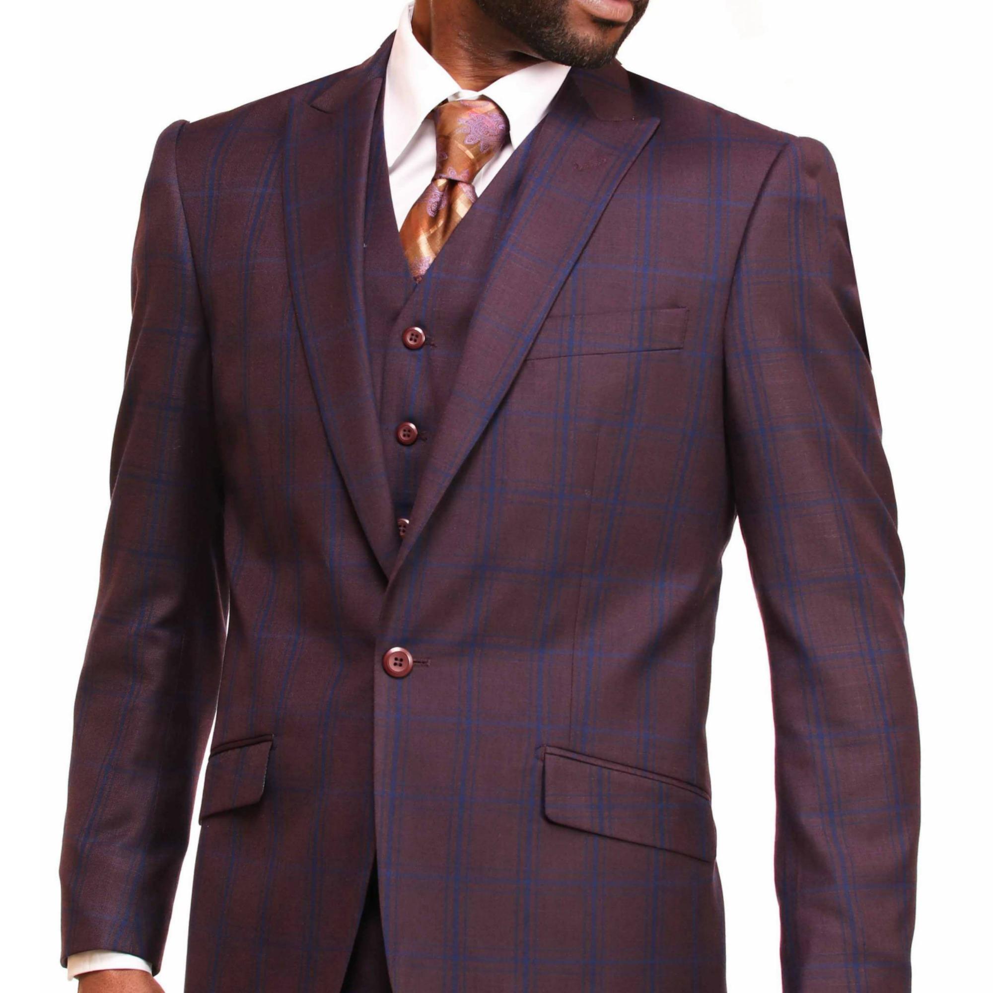 Burgundy Vested Suit