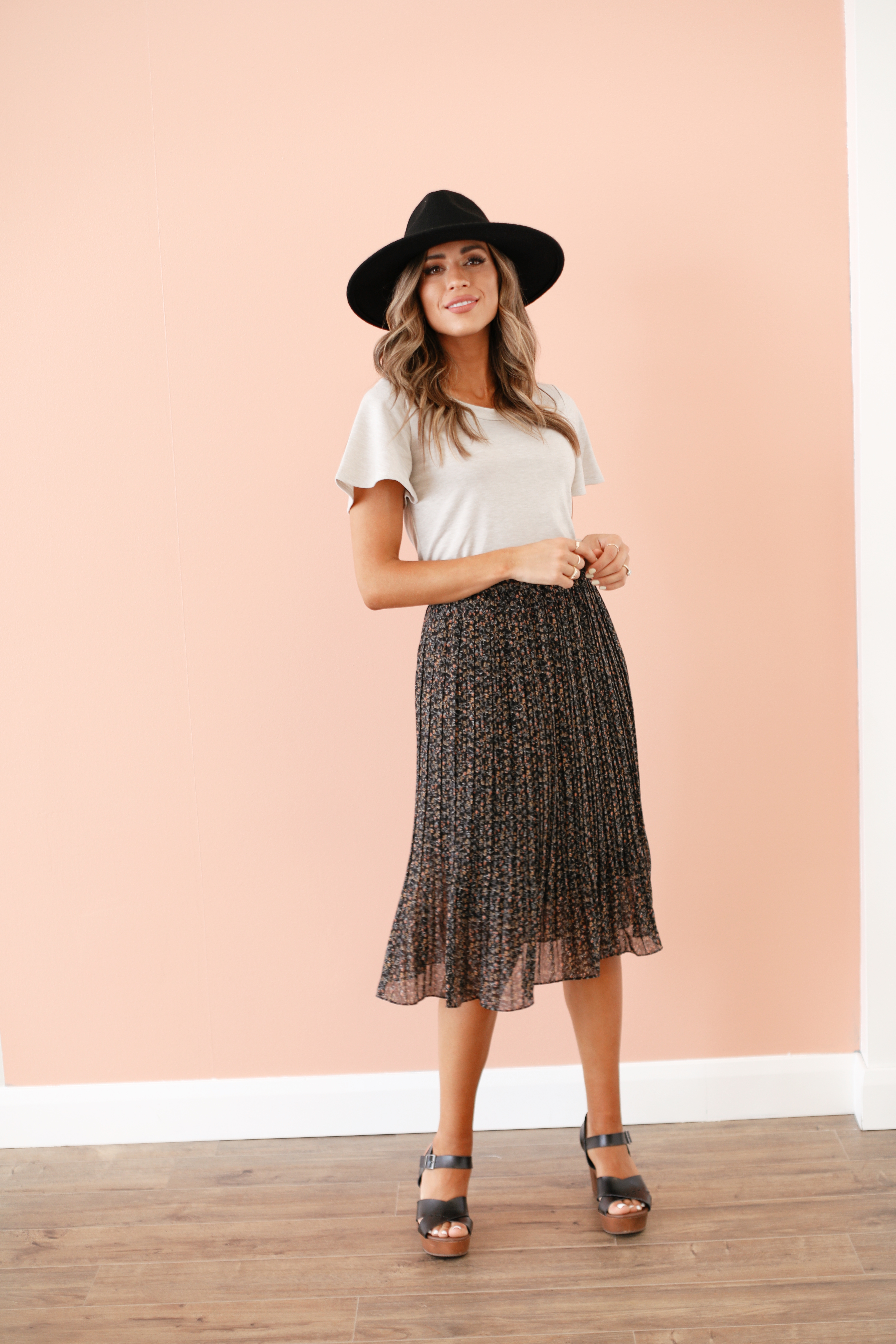 Pleated Skirt-Midnight