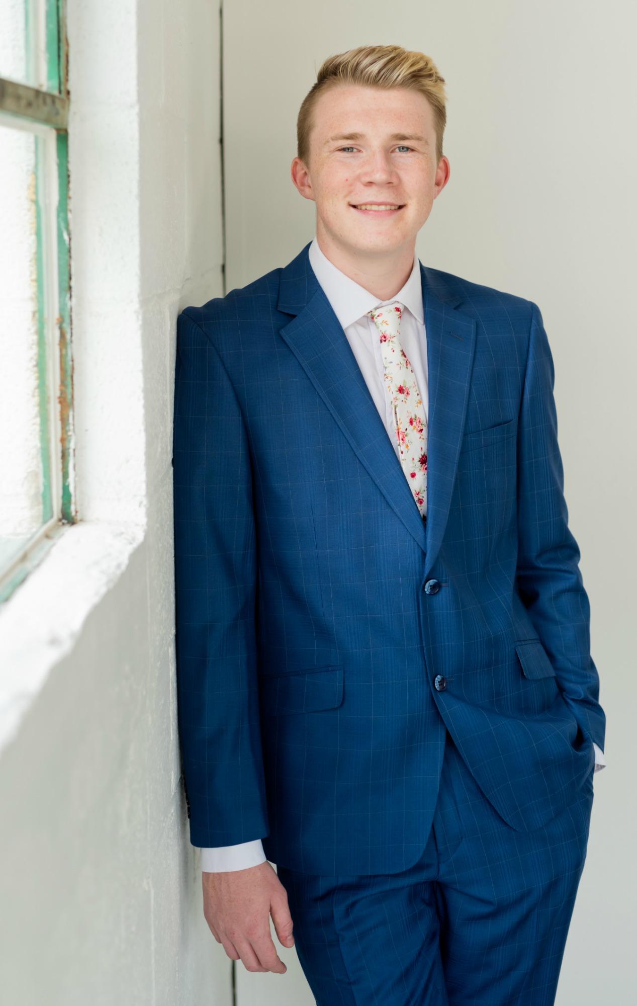 Blue  Suit in a Window Pane Plaid