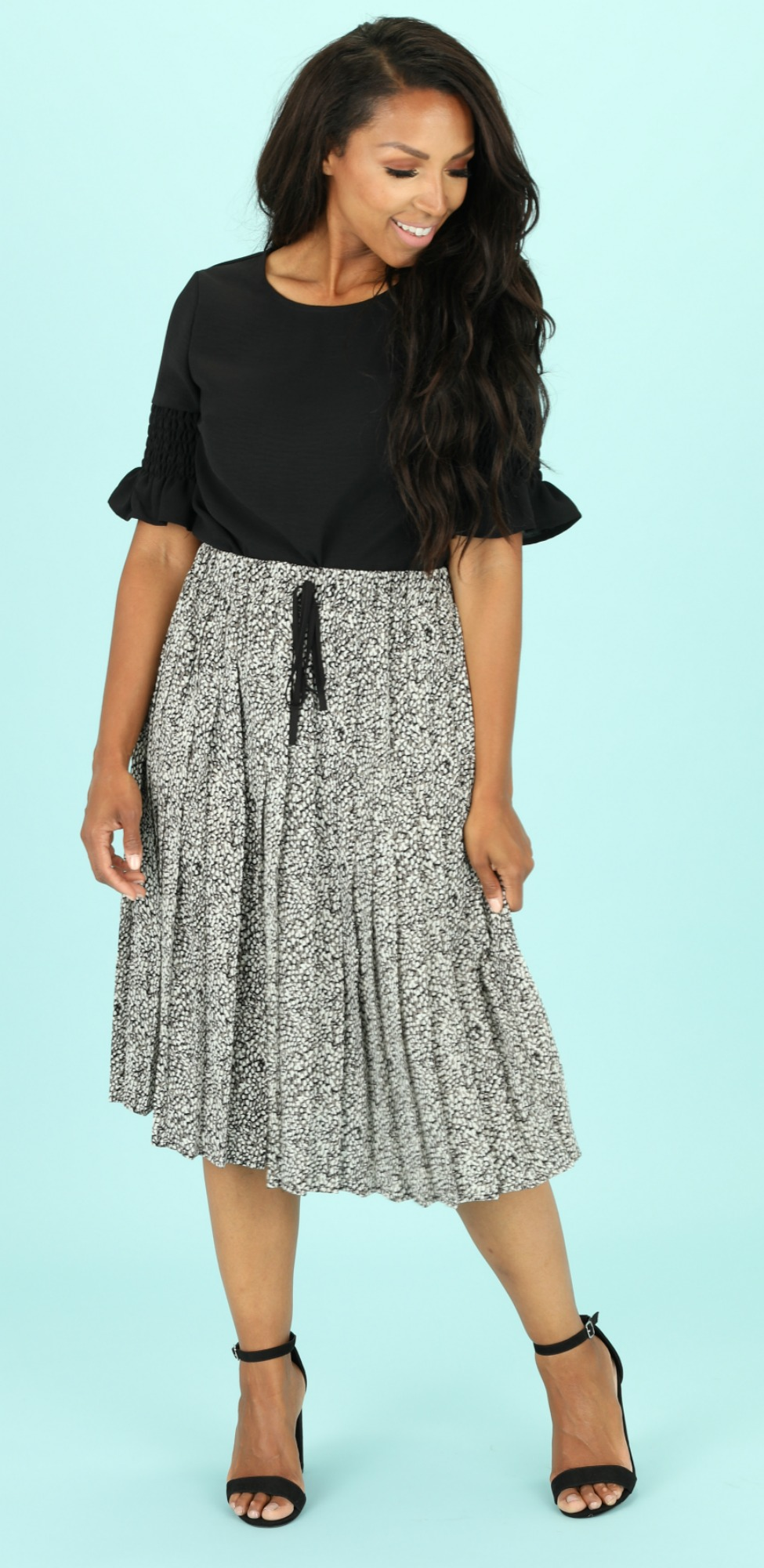 Pleated Skirt-Gray Abstract