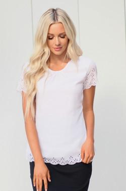 White Cutout Sleeve Top