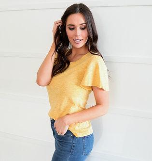 Mikarose Golden Heathered Top