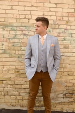 Light Blue Plaid Suit Coat