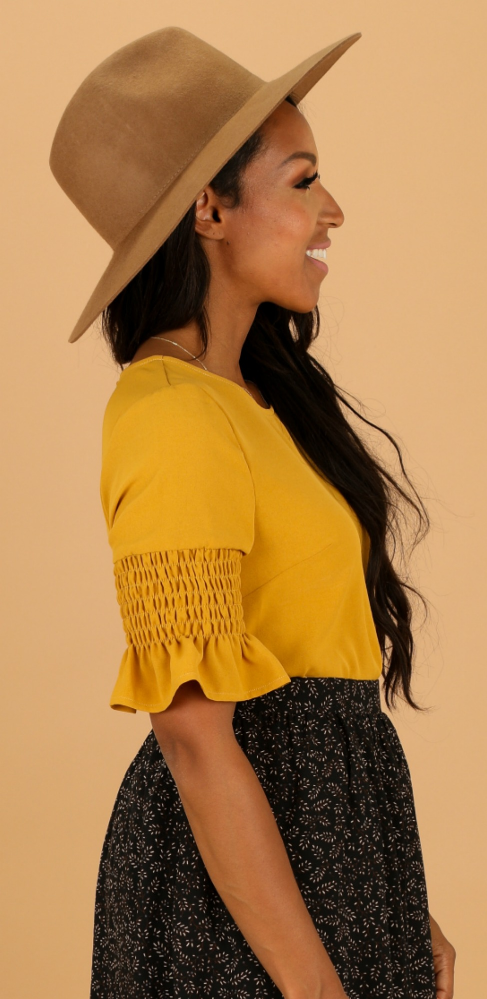 Gathered  Sleeve Top-Golden Yellow