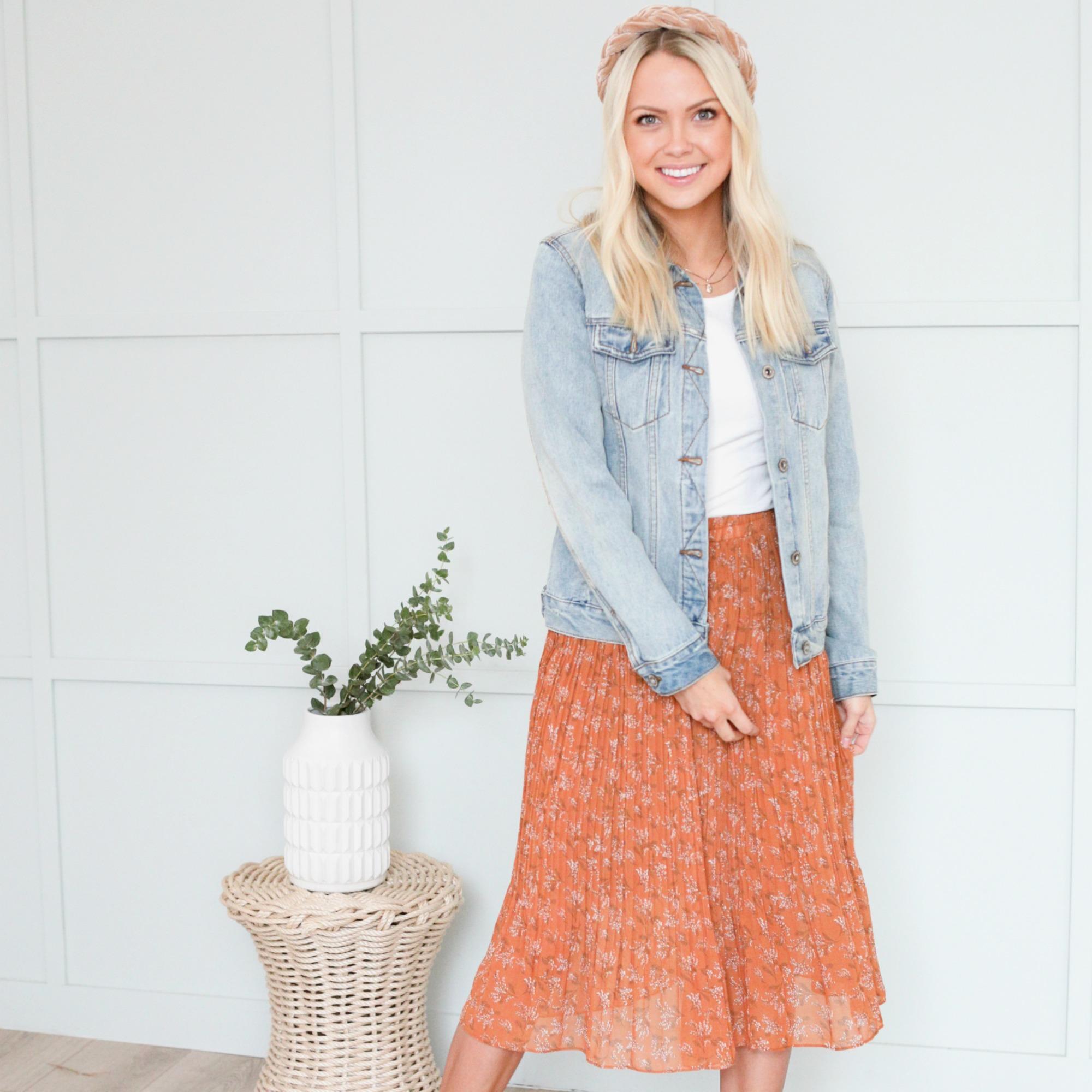 Pleated Midi Skirt-Cognac Field Floral-6