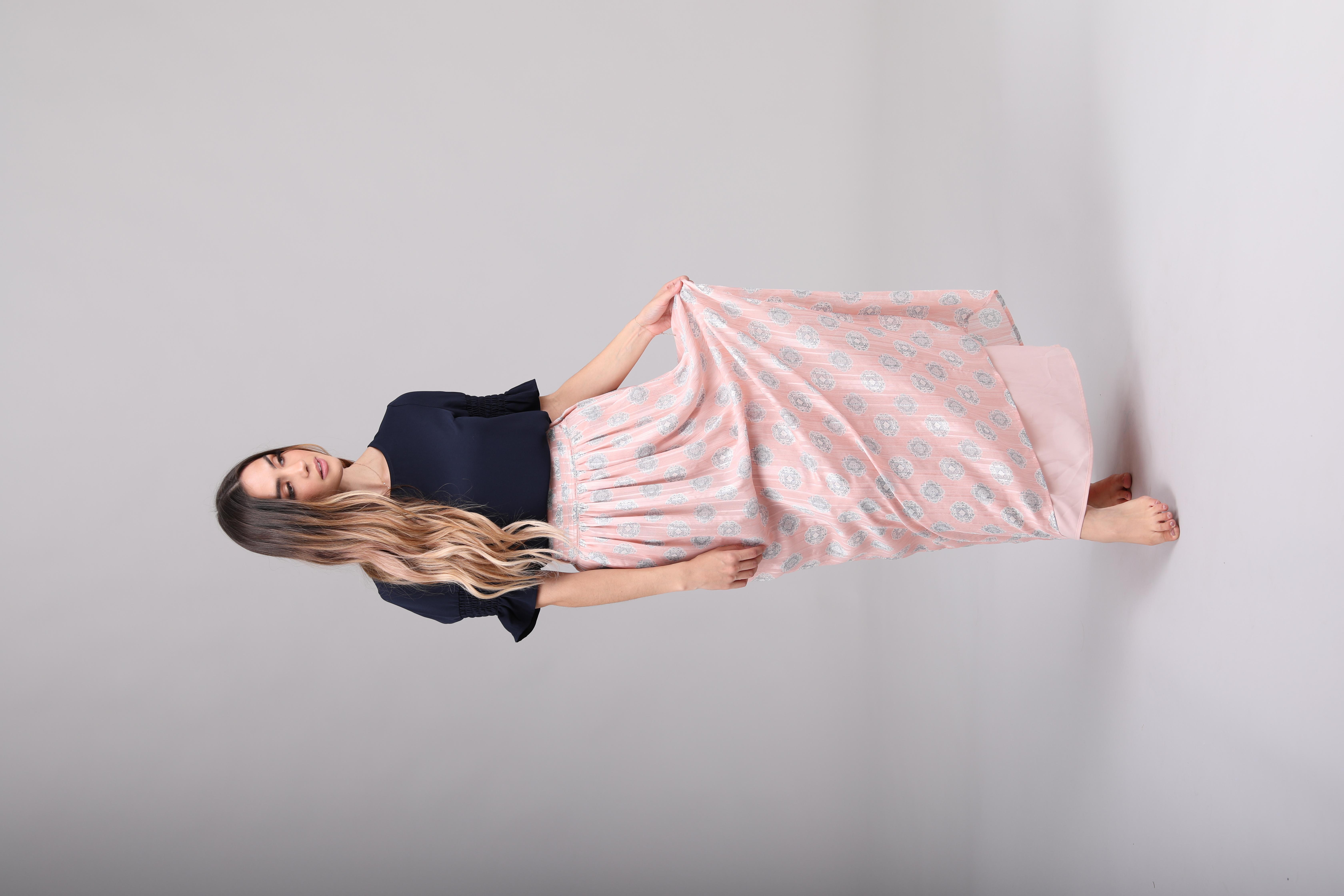 Mikarose Maxi Skirt-Soft Pink Medallion