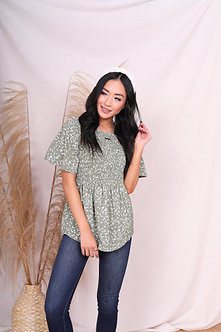 Smocked Flutter Sleeve Top-Sage Green Floral