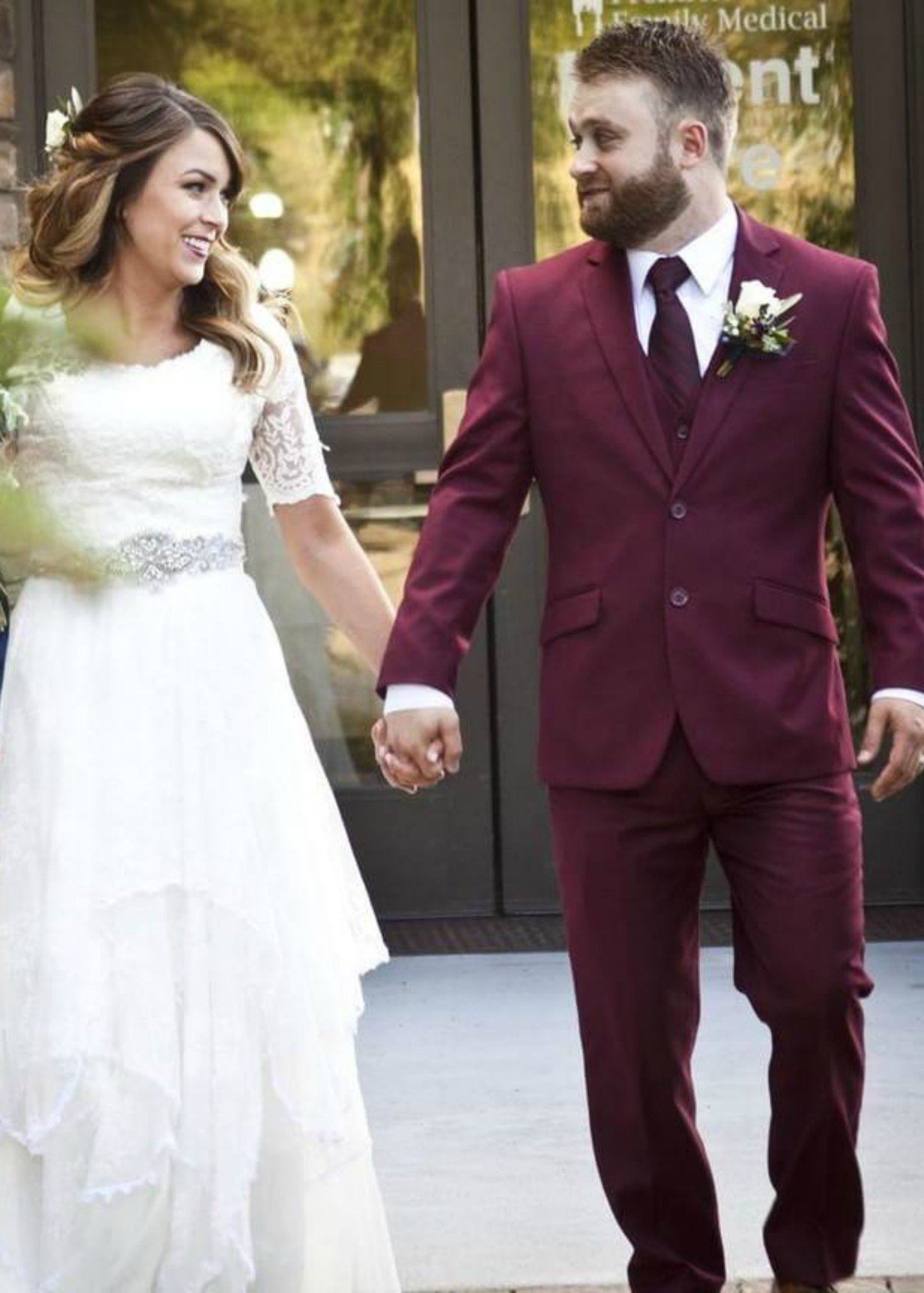 Burgundy Slim Suit for the Groom