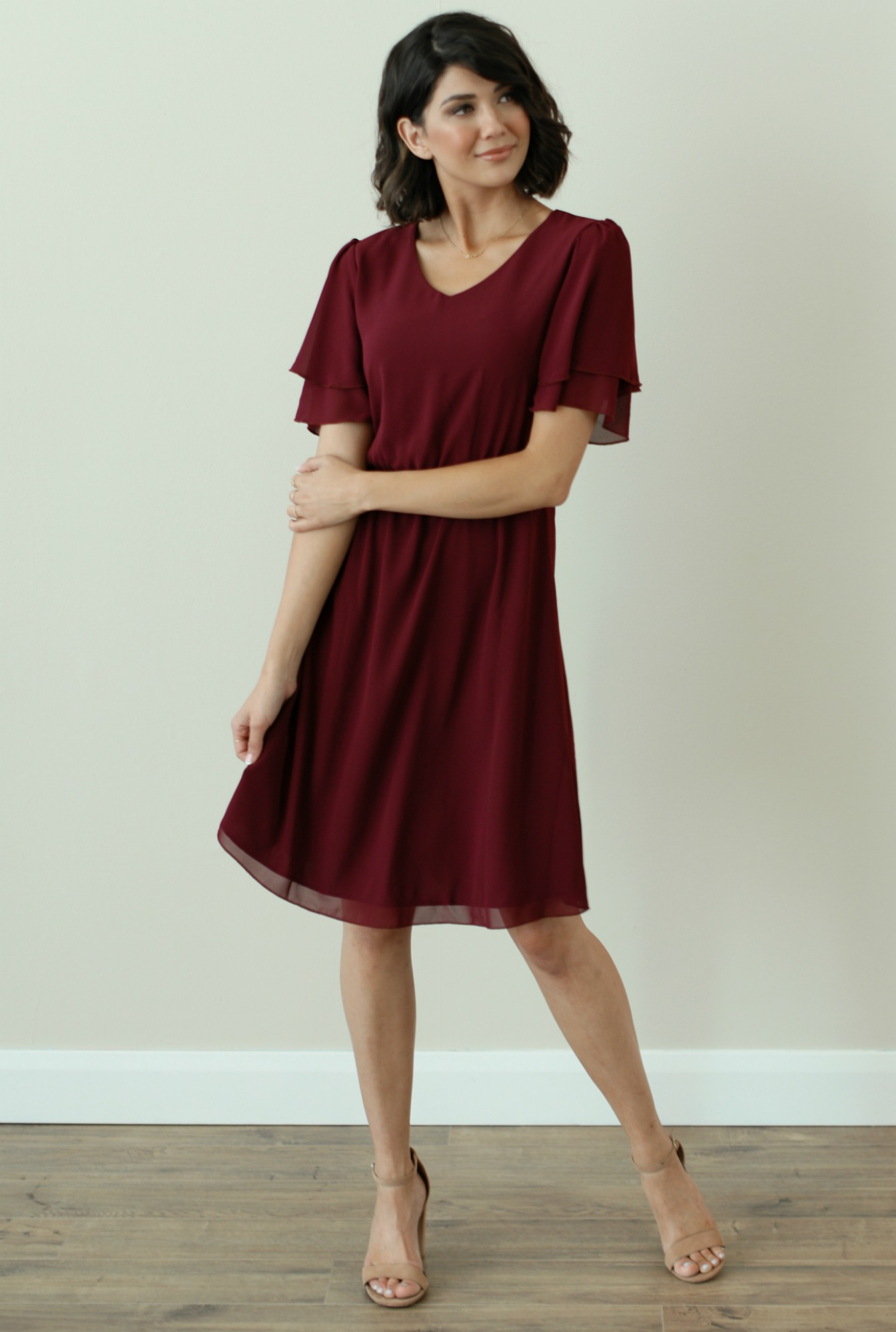 Claire Dress-Eggplant-Burgundy