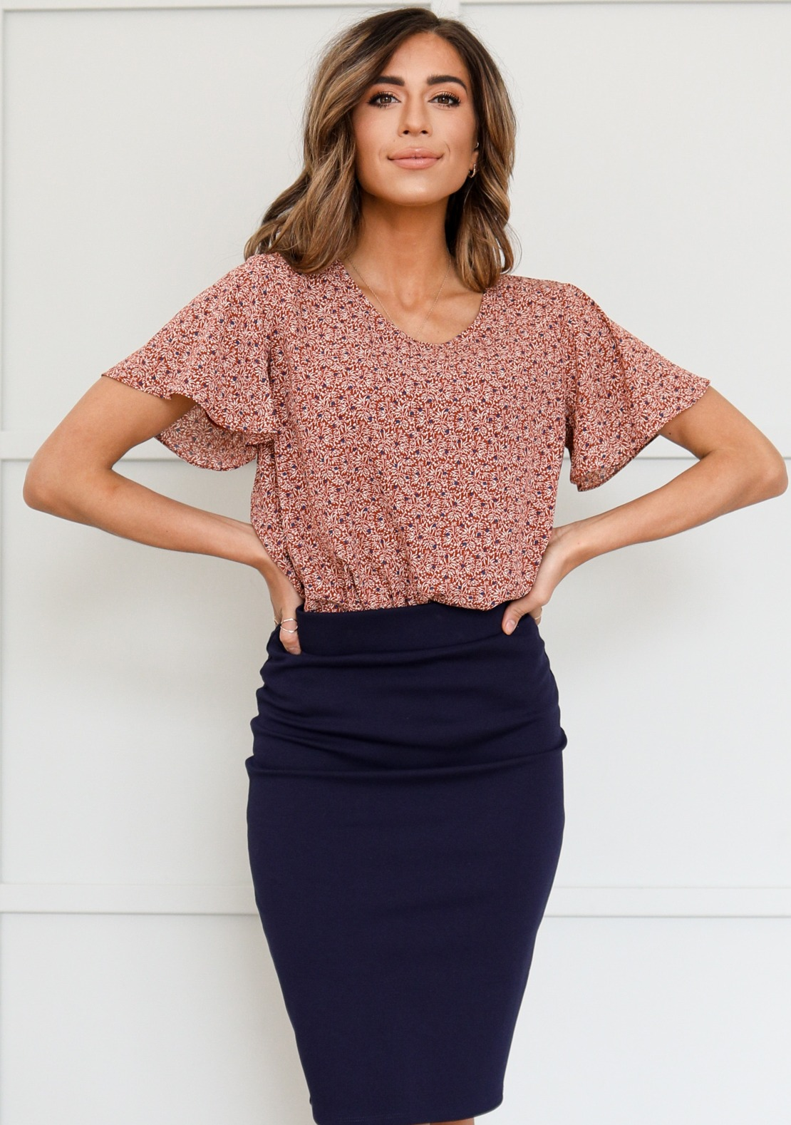 Rust Ditsy Floral Top