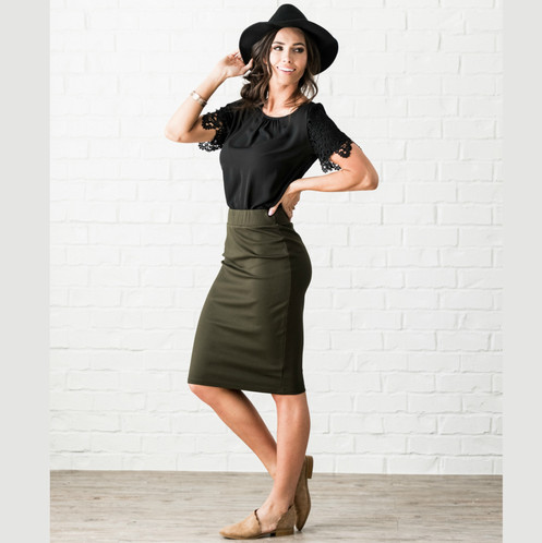 5817bfa96e70 Olive pencil skirt. Olive green pontee elastic waist pencil skirt. Modest  skirt. Women's Modest Pencil Skirt. Stretchy and comfortable. Great quality.