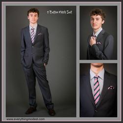 Slim Fit Men's Gray Suit