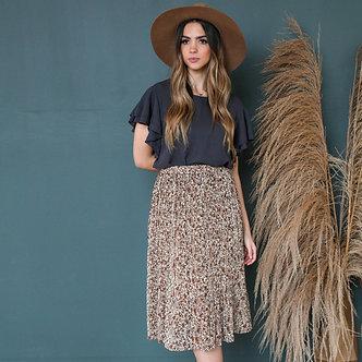 Pleated Midi Skirt-Cream and Rust Floral