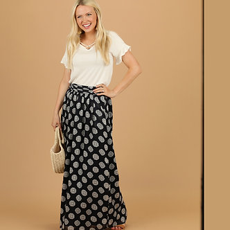 Mikarose Navy Medallion Maxi Skirt