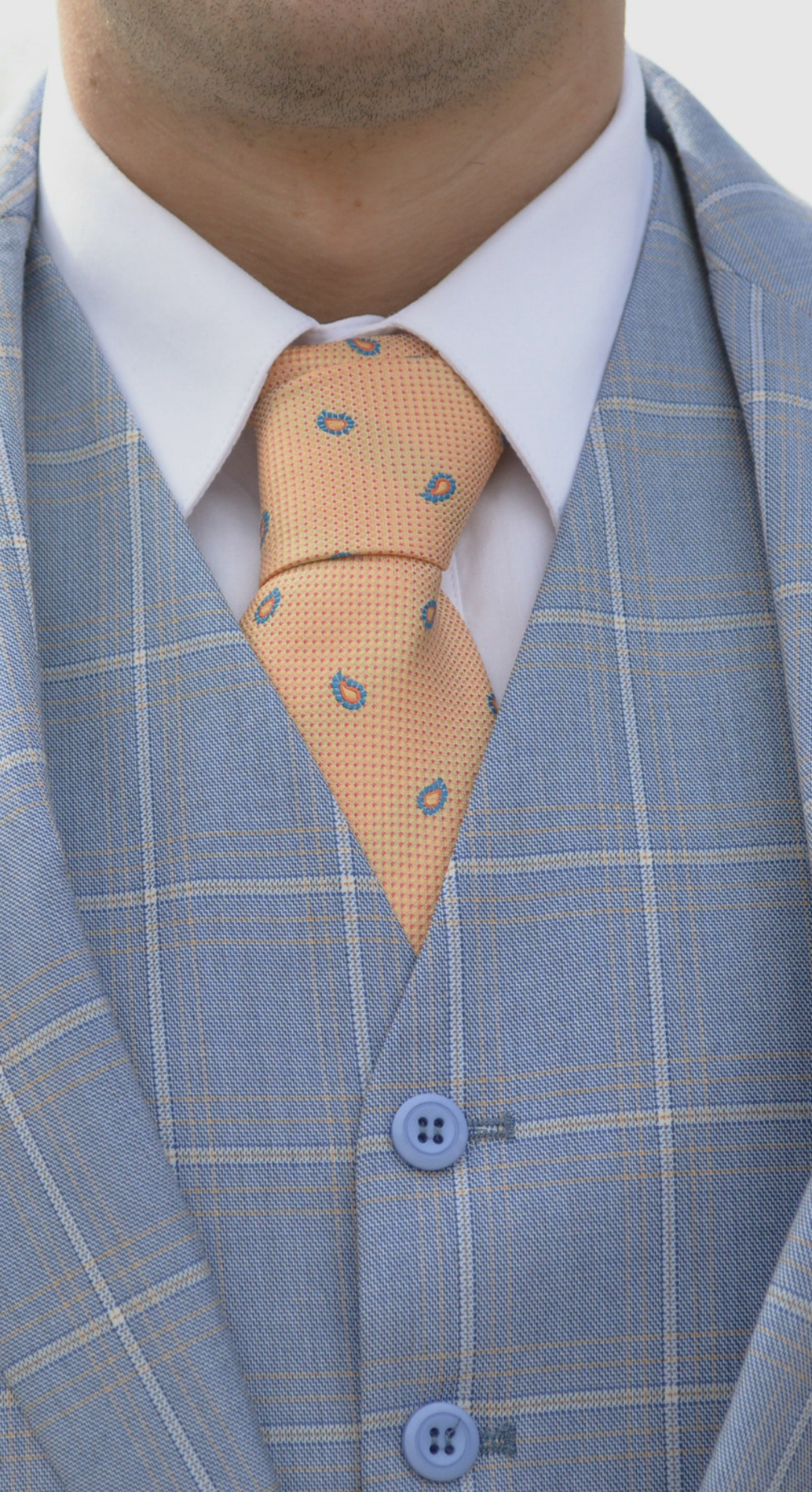 Light Blue Suit and Peach Tie