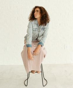 Maxi Button Skirt-Copper Stripe