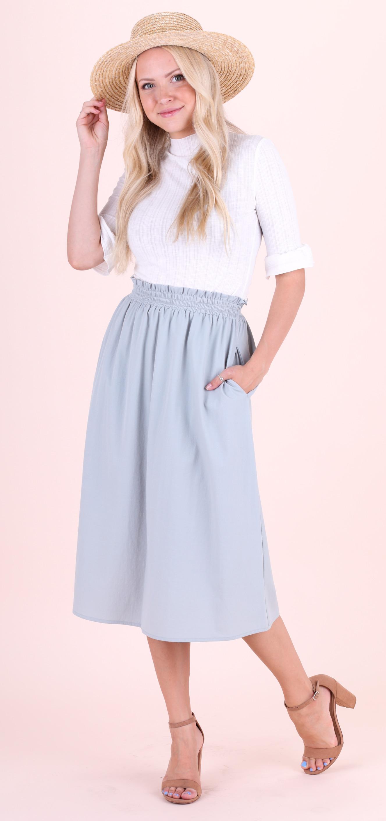 Mikarose Tea Length Skirt-Teal