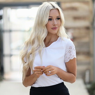 Mikarose White Cutout Sleeve Top