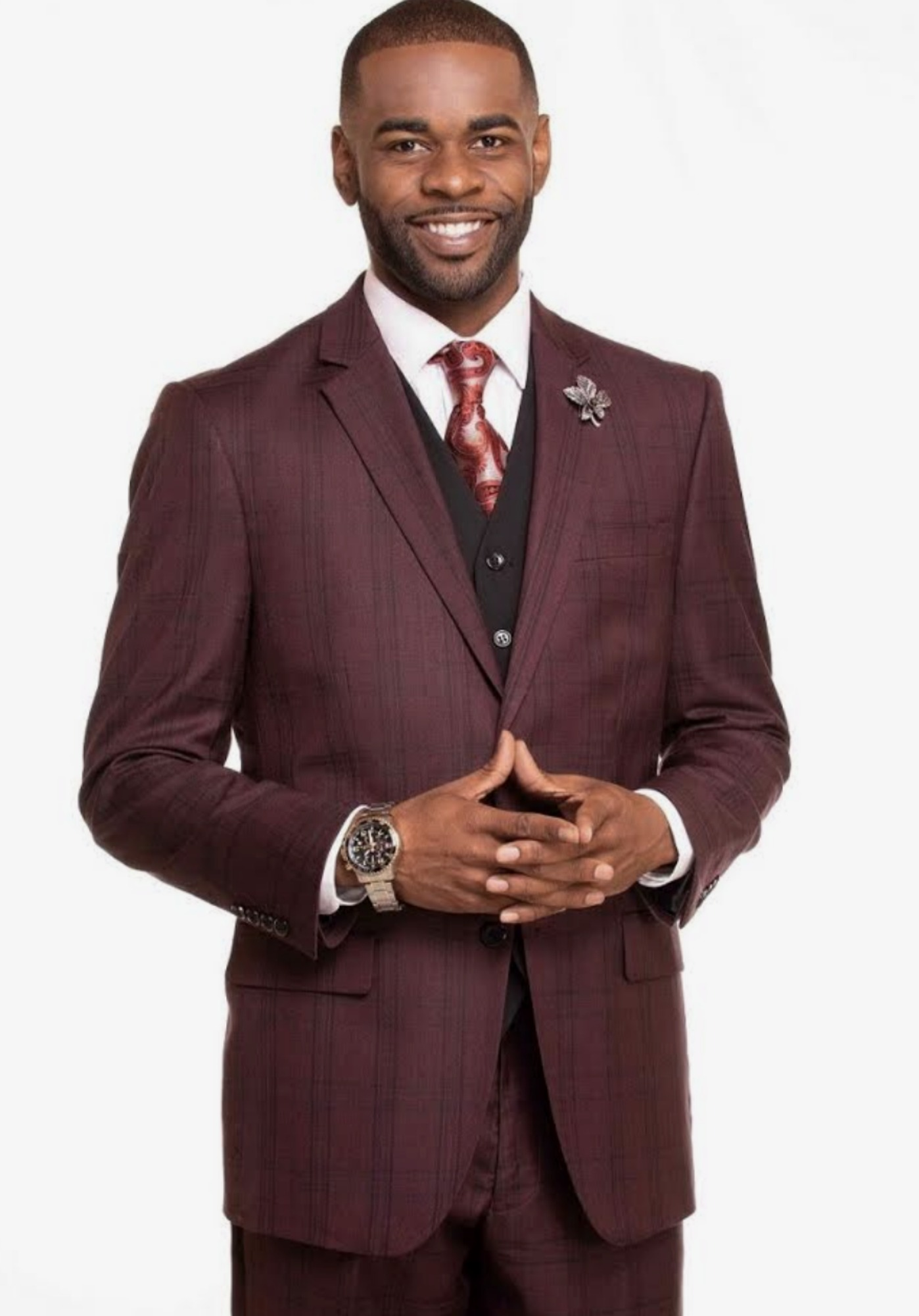 Burgundy Plaid Suit with a Vest