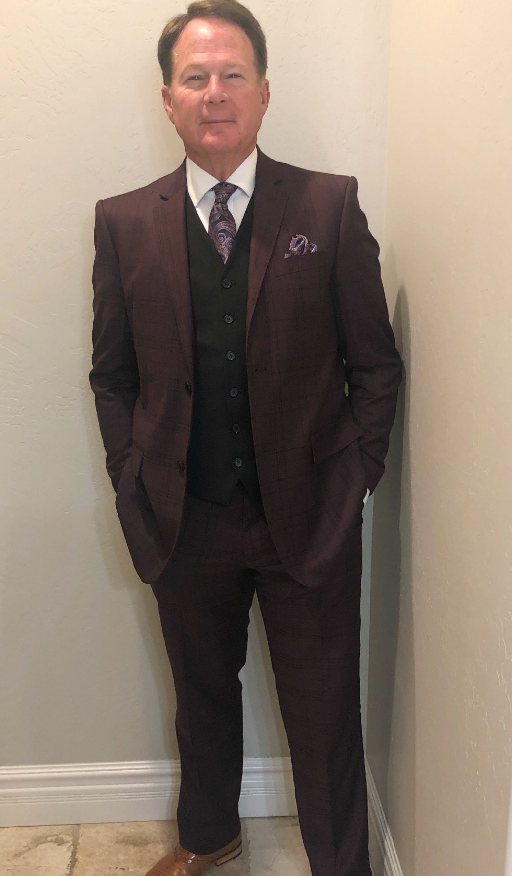 Burgundy Plaid Suit