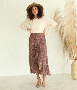 Front Ruggle Skirt-Mahogany Floral