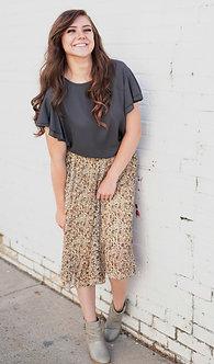 Pleated Midi Skirt in Cream and Rust