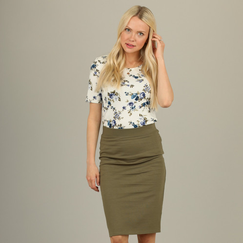 6565ed555 Sage green pencil skirt. Light olive green pontee elastic waist pencil skirt.  Modest skirt. Women's Modest Pencil Skirt. Stretchy and comfortable.
