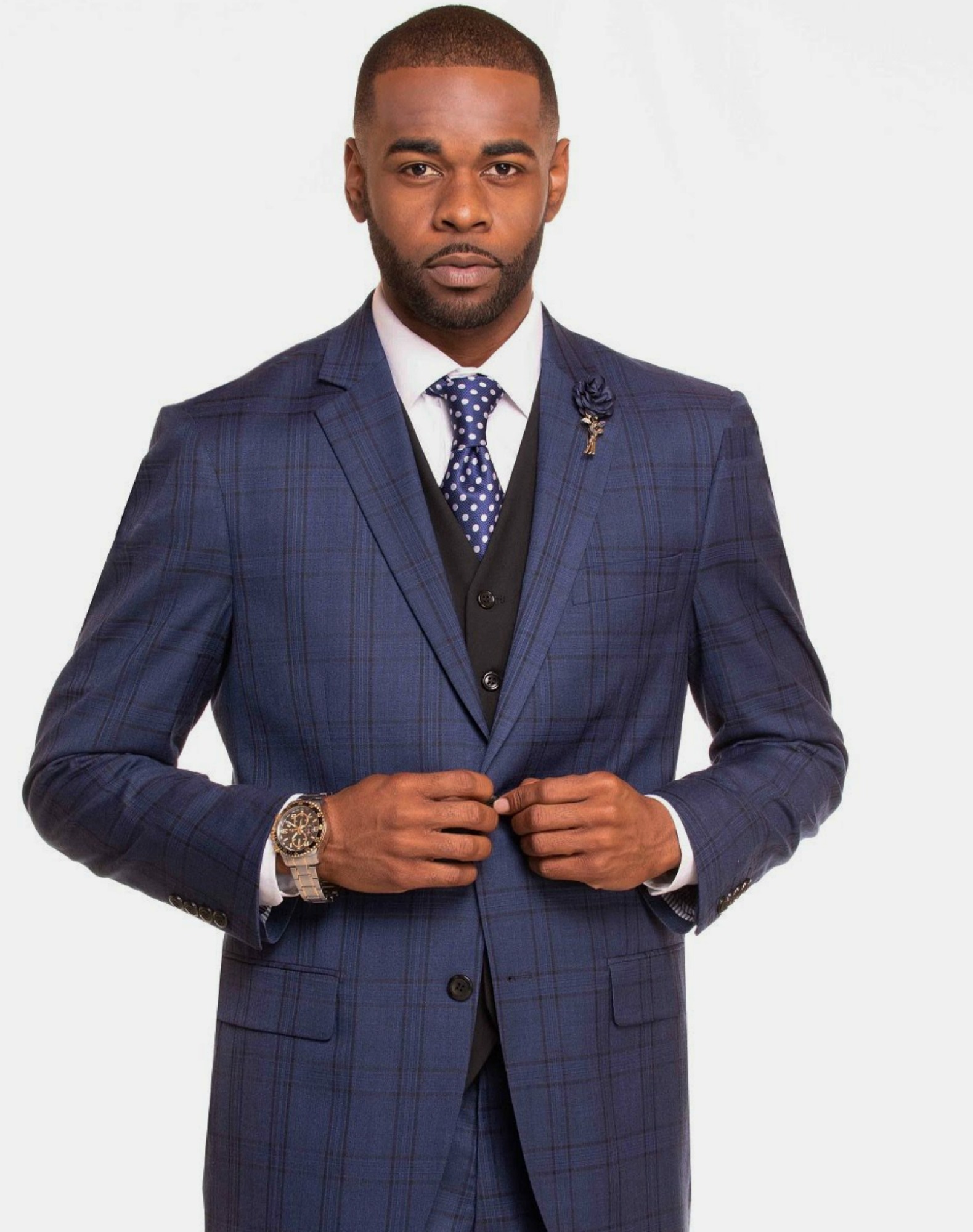 Blue Plaid Vested Suit