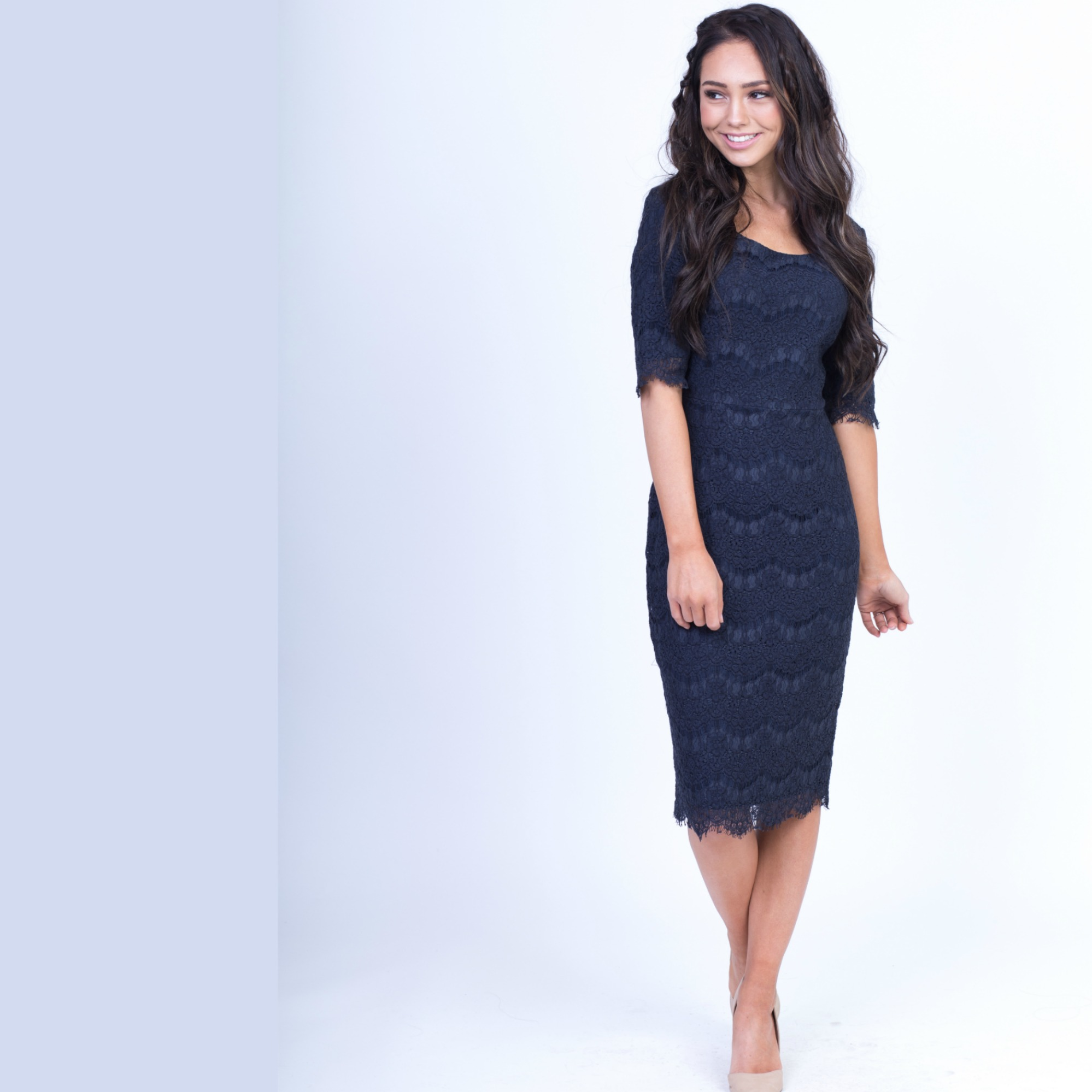 Jill Lace Dress-Navy