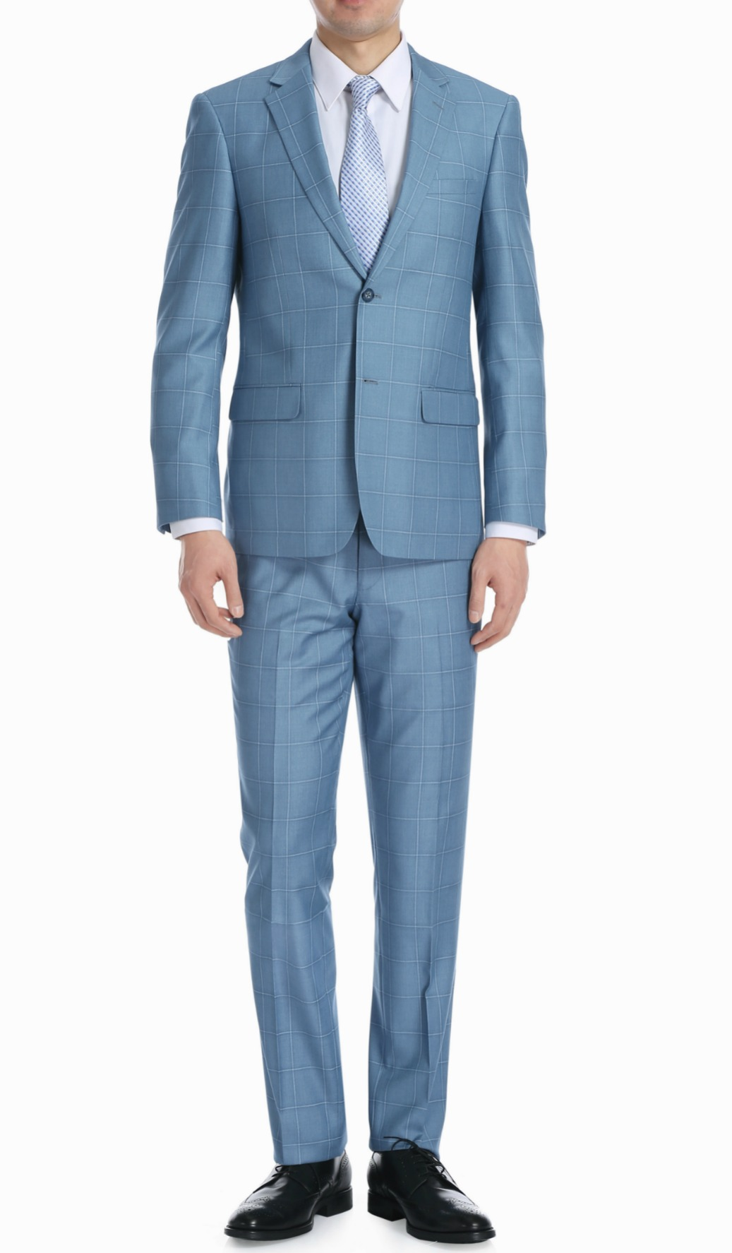 Light Blue Plaid Suit