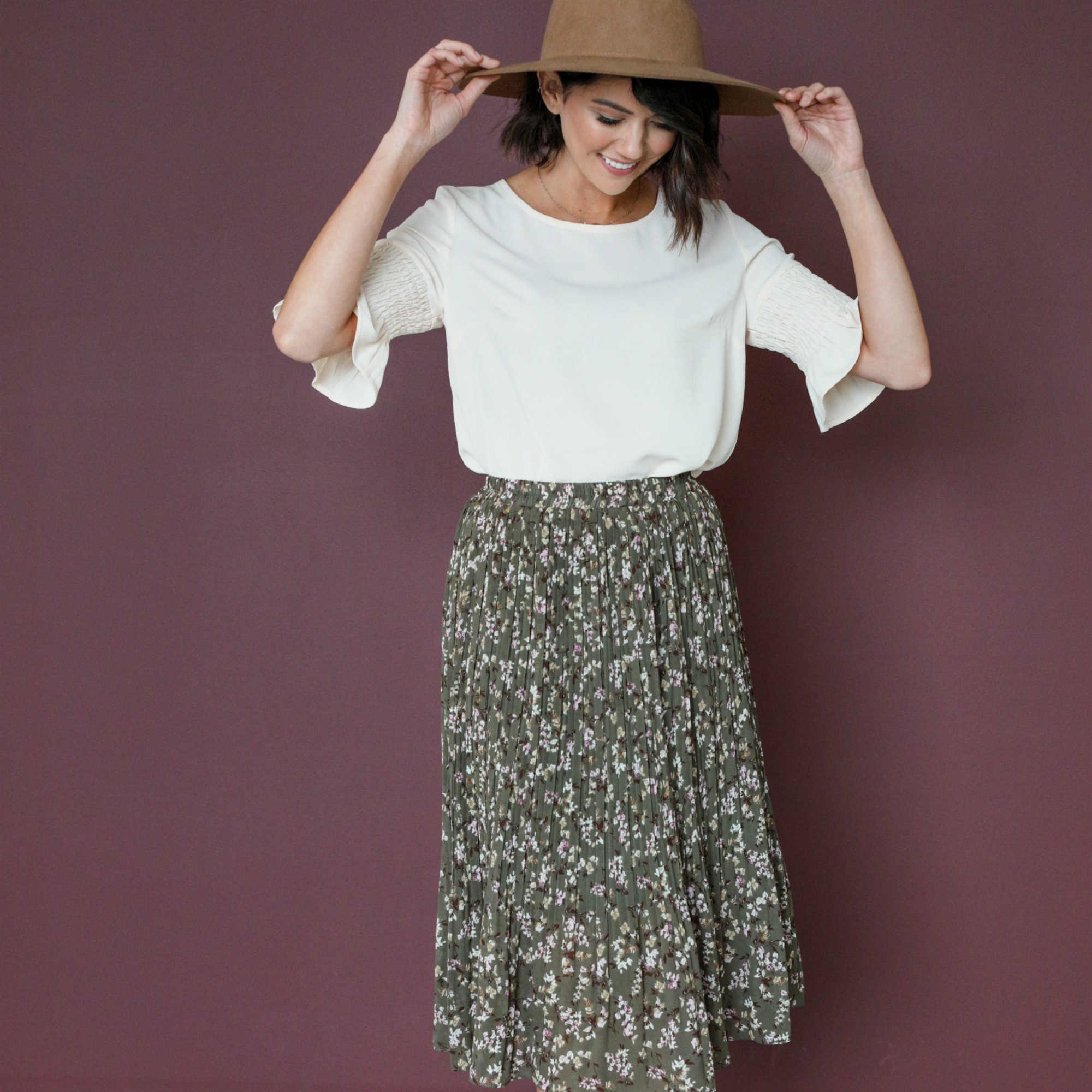 Pleated Midi Skirt-Forest Green