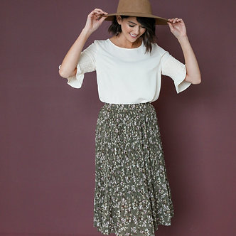 Pleated Midi Skirt-Forest Green Floral