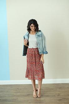 Pleated Midi Skirt-Rust Floral