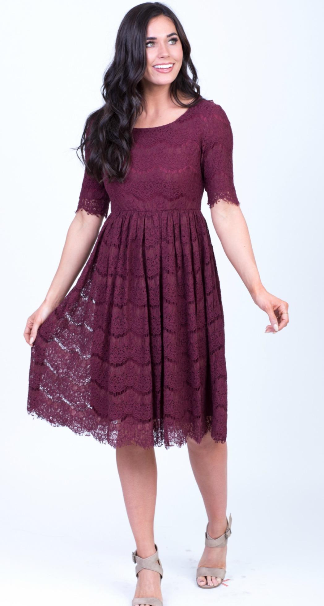 Evelyn Lace Dress-Burgundy