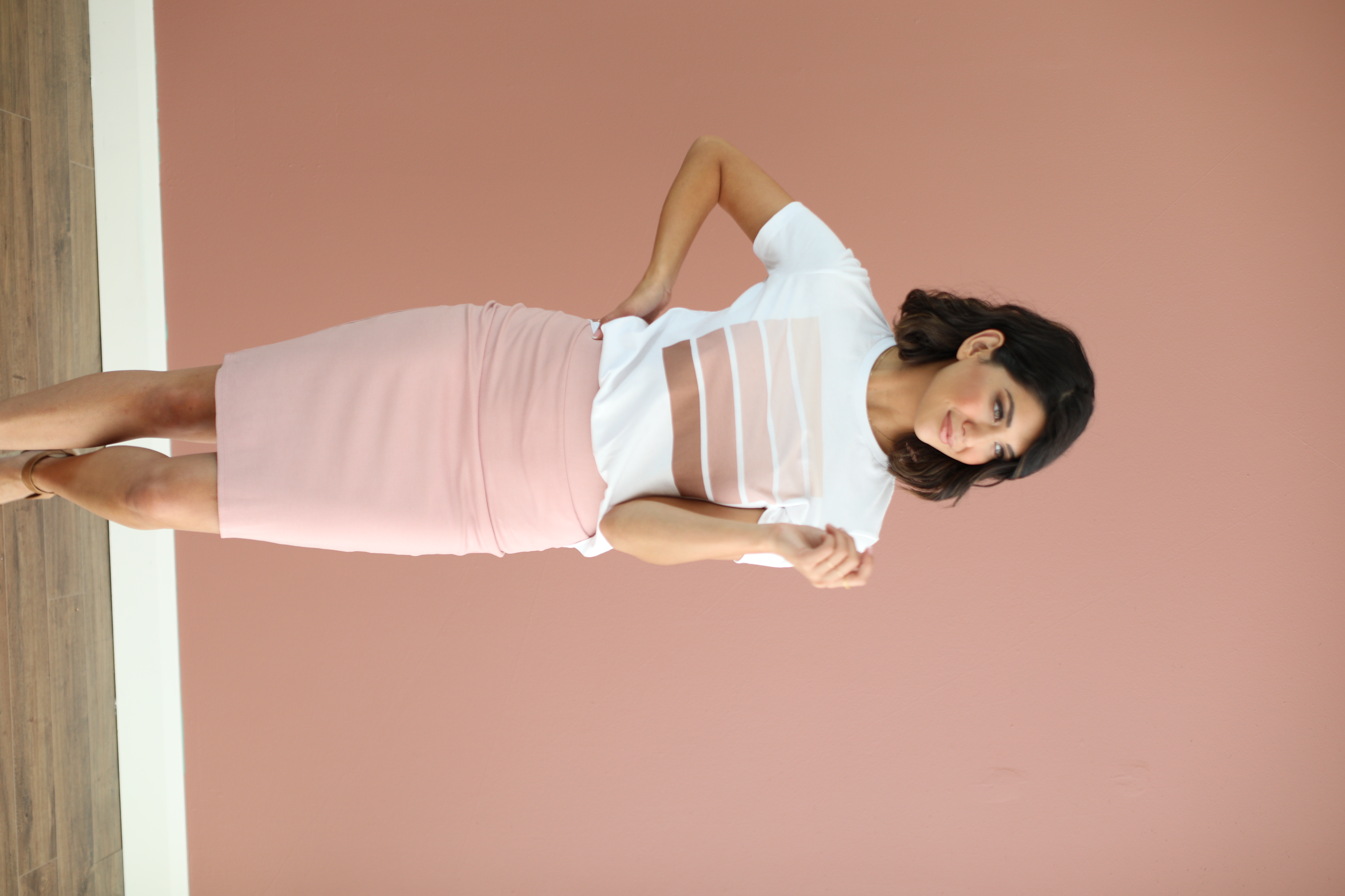 Pencil Skirt-Pale Pink