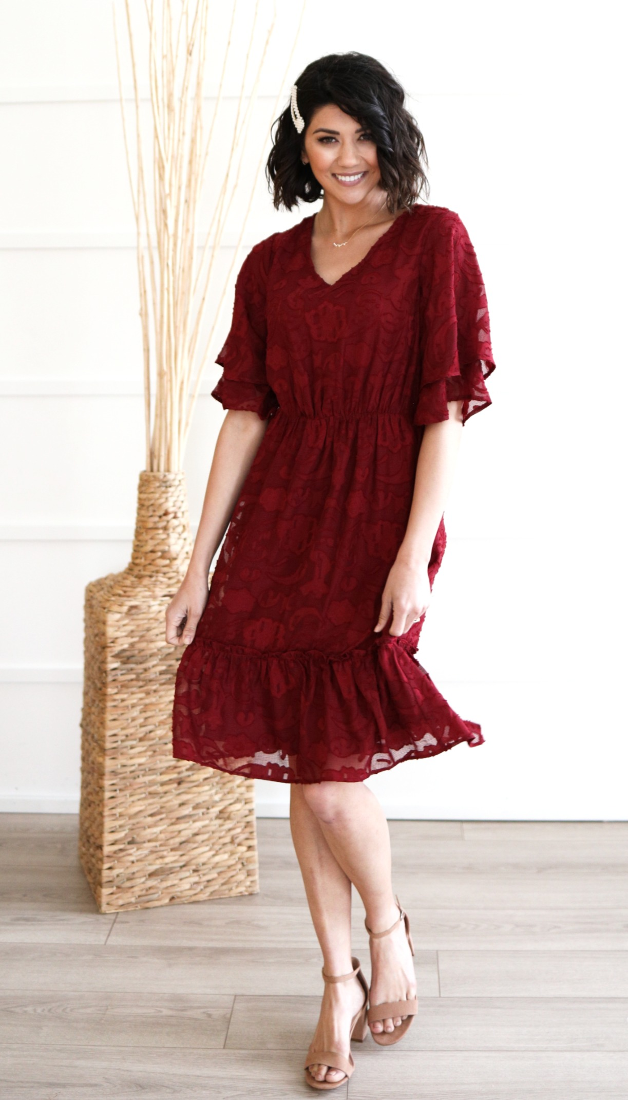 Magnolia Dress-Burgundy