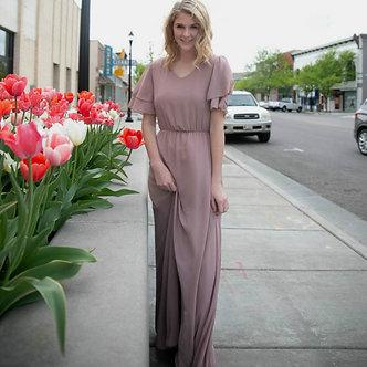 Mikarose Chloe Chiffon Maxi Dress-Dusty Lilac