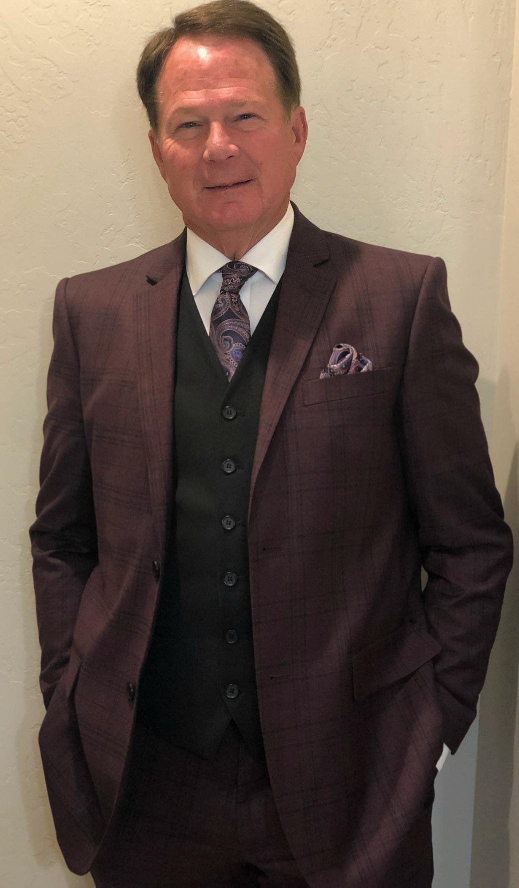 Burgundy Plaid Suit