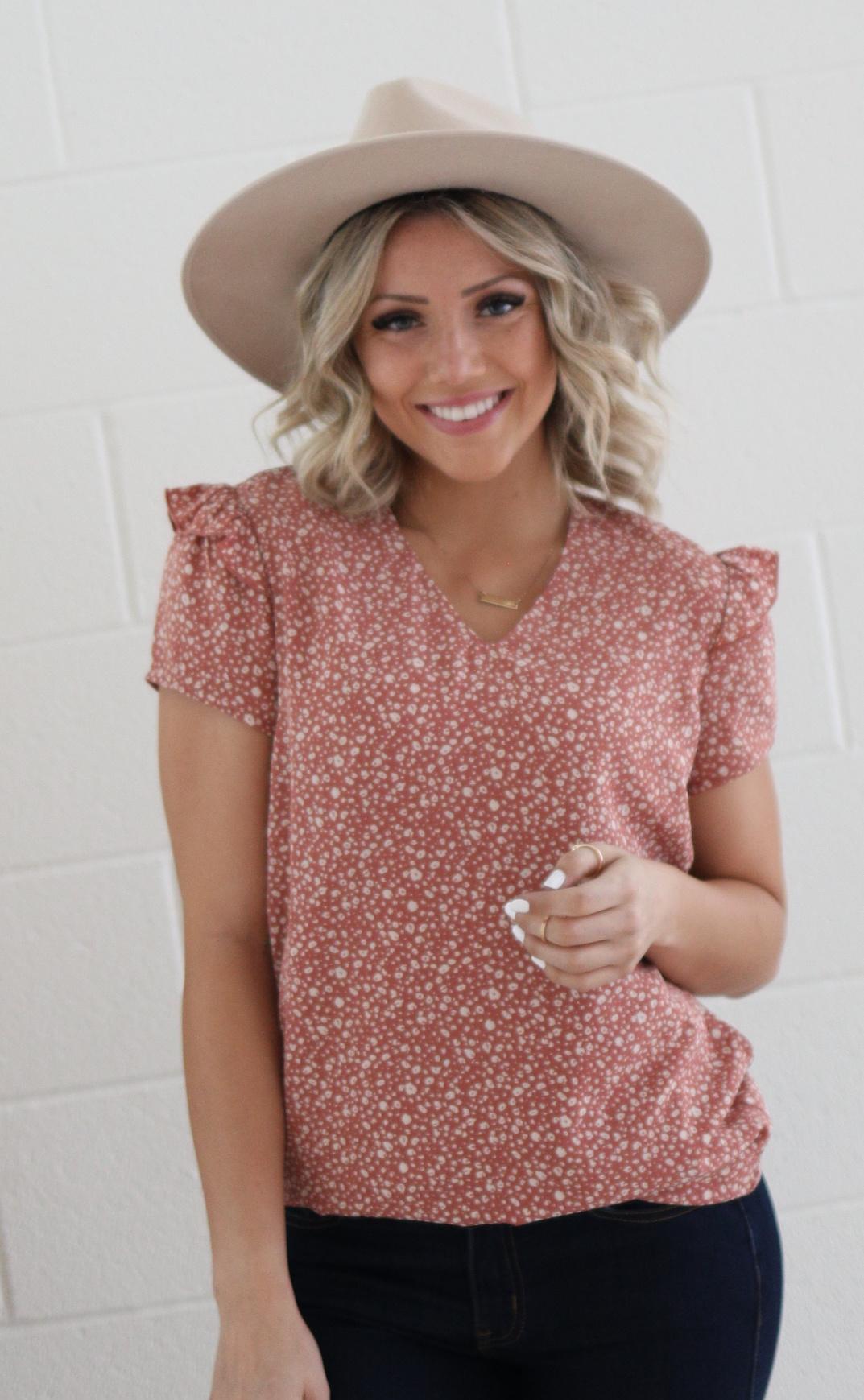 Flutter Sleeve Blouse-Peach Animal Print