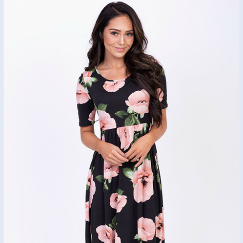 5fb6669141f8e Black knit maxi dress with pink poppy floral print. Maxi Dress. Modest dress.  Modest Maxi Dress. Black dress. Long Dress. Fun for Bridesmaids.