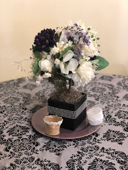 Table linens and centerpieces.