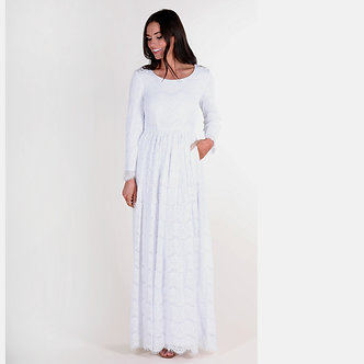 Mikarose Emily Lace White Maxi Dress