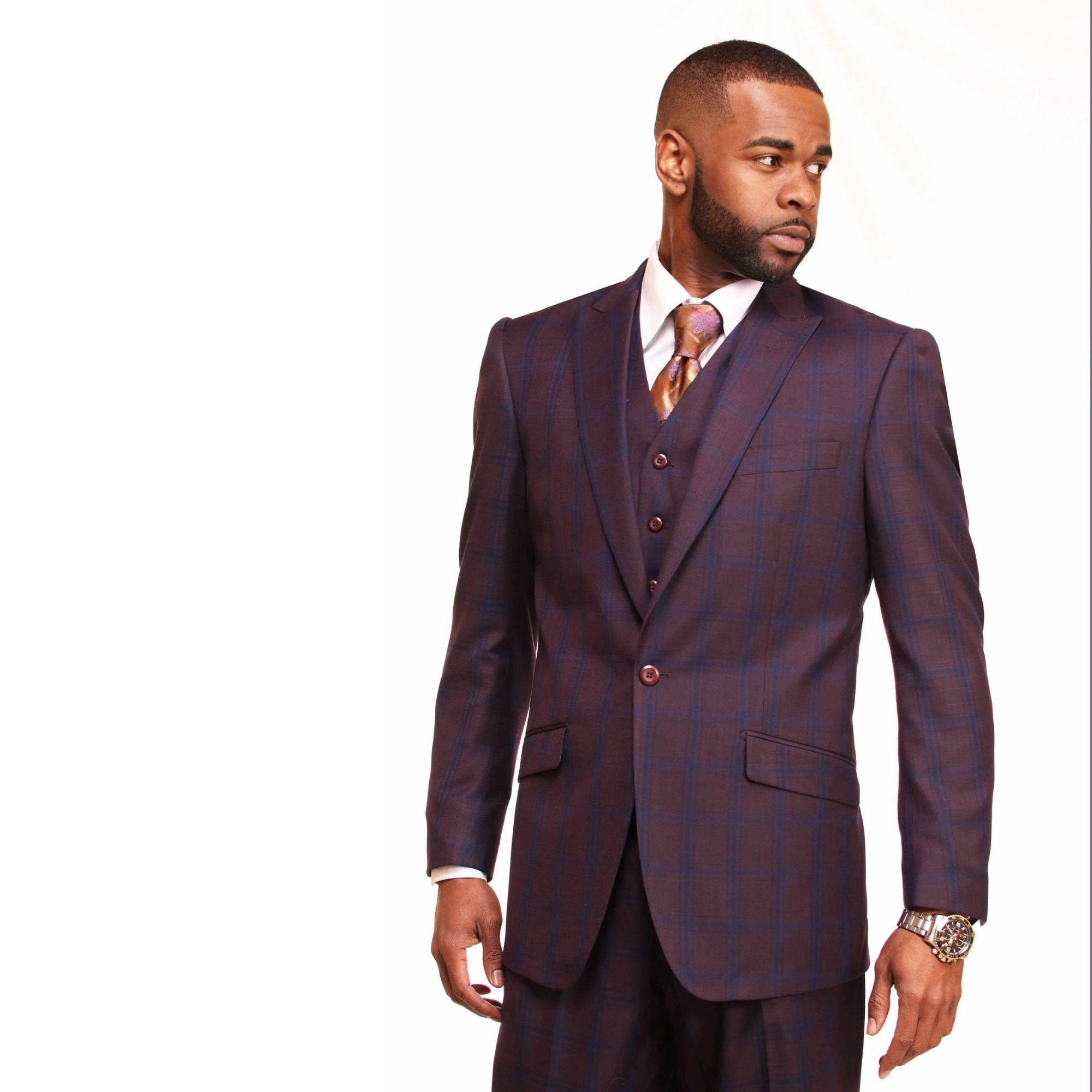 Burgundy 3 piece Suit