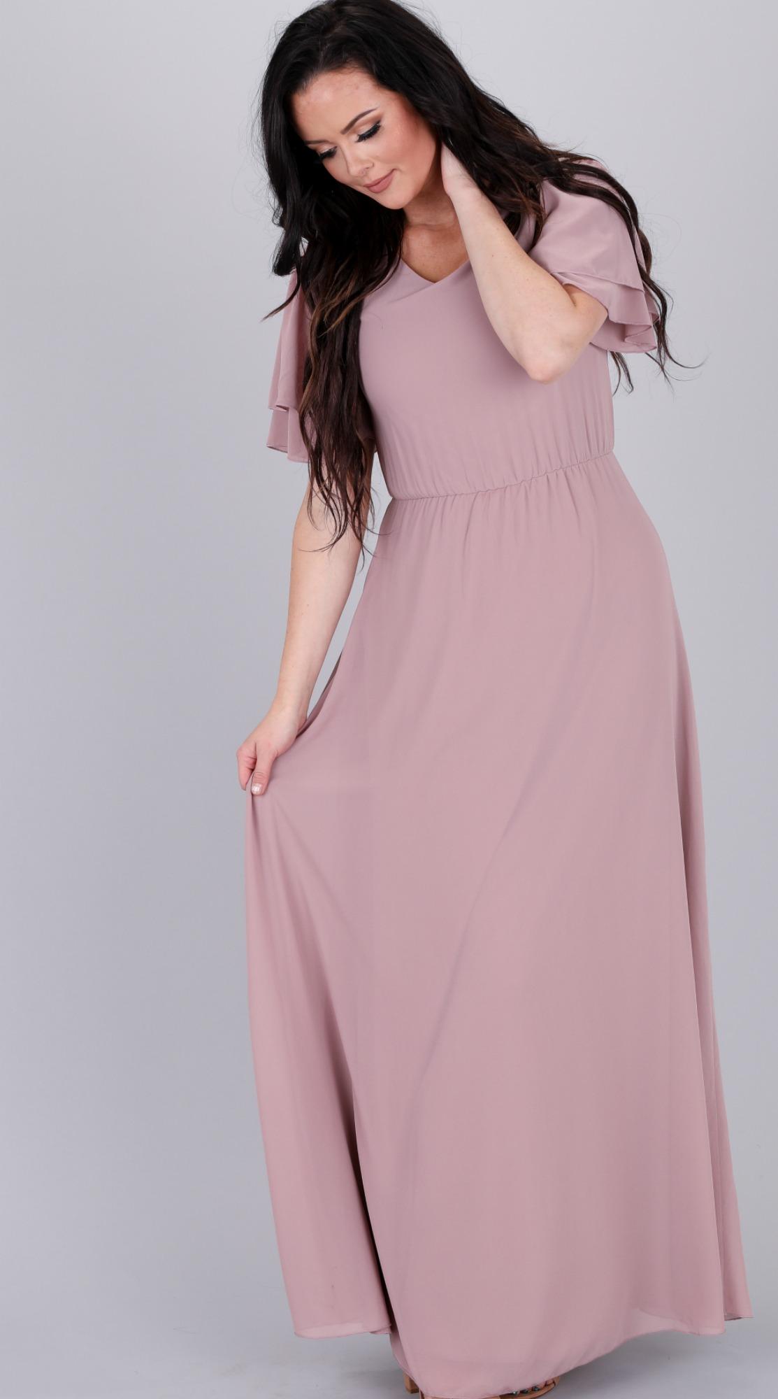 Chloe Chiffon Maxi Dress-Dusty Lilac